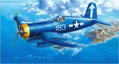 Vought F4U-1D Corsair, VF-84, USS Bunker Hill. Art by Masami Onishi