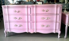 RESERVED: Beautiful light Pink dresser,nightstand, and custom desk White And Gold Dresser, Pink Dresser, Dresser As Nightstand, White Gold, Pink Drawers, Custom Desk, Big Girl Rooms, Baby Rooms, Restaurant