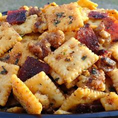 Nutty Candied Bacon & Honey Q Snacker Crackers Recipe | Just A Pinch Recipes