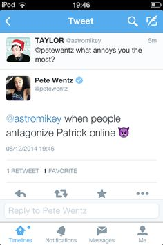 Pete is such a sweet and caring person. Patrick is very lucky to have him as a friend.