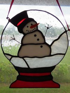 Handmade Christmas Snow Globe Snowman Stained Glass Suncatcher | eBay