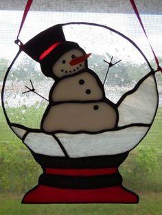 Handmade Christmas Snow Globe Snowman Stained Glass Suncatcher | eBay
