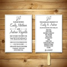 Printable Wedding Invitation & Program Templates - Dark Grey and White - Instant Download - Editable MS Word Doc - Cupid's Dart Collection