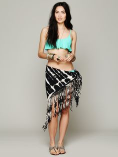 Cecilia de bucourt fringe chain jersey shawl at free people clothing
