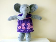 Hand Knitted Elephant Wearing Purple Dress, Knitted Animal, Knit Elephant, Plushie Elephant, Handmade Grey Elephant, Stuffed Elephant by TabbyCatCraftsShop on Etsy