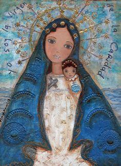 La Virgen de la Caridad del Cobre by Flor Larios Art Print