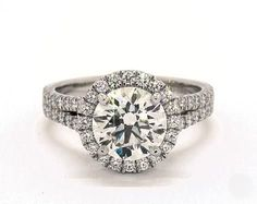 2.1ct Round Halo Engagement Ring in Platinum - See it in 360 HD SuperZoom!
