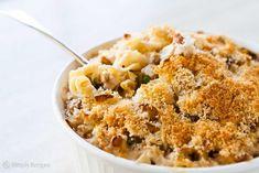 Turkey Tetrazzini ~ Turkey tetrazzini recipe, a turkey casserole with egg noodles, mushrooms, peas, Parmesan and Swiss cheeses, cream, bread crumbs and turkey. ~ SimplyRecipes.com