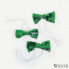 THREE Sequin Bow Ties St Patrick's Day  Birthday Party Favors Mardi Gras Games