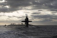 The Ohio-class ballistic missile submarine USS Rhode Island (SSBN 740) returns to Naval Submarine Base Kings Bay after three months at sea. (U.S. Navy photo by Mass Communication Specialist 1st Class James Kimber/Released)