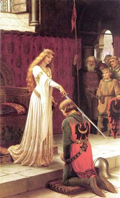 & Pre-Raphaelite painting ~ in other words, a romanticized painting ~ of a Medieval royal lady knighting a nobleman. & Accolade& by Edmund Blair Leighton Classic Paintings, Old Paintings, Pre Raphaelite Paintings, Renaissance Kunst, Classical Art, Medieval Art, Medieval Knight, Medieval Fantasy, Old Art