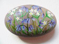 Bluebells & Stitchwort - Hand painted paperweight rock - Beach pebble art