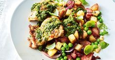 Fire up the barbie to create these grilled chicken thighs served with bacon, potato, fresh peas and basil pesto.