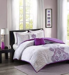 Avani in Purples, Blues and Greys Comforter Sets by Intelligent Design