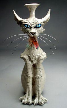 Evil Cat Face Jug Vase Raku Pottery by Grafton Pottery!