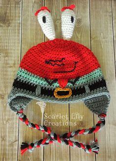 Krabs Hat pattern by Jamie Huisman Ravelry: Mr. Krabs Hat pattern by Jamie Huisman free Crochet Hook Set, Crochet Cap, Crochet Gifts, Crochet Kids Hats, Crochet Toys, Knitted Hats, Crochet Beanie Pattern, Crochet Patterns, Doll Patterns