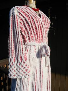 vintage chenille robe for sale   1940s Lucy Chenille Vintage Robe Restored Red Gingham Wedding Cake ...