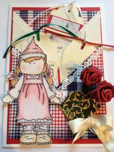 Kerst scrap meisje met rozen