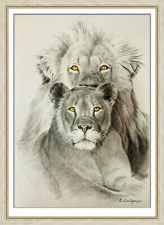 original drawing art by samovar animals lion lioness oil dry brush 2020 Lion And Lioness, Lion Painting, Dry Brushing, A3, The Originals, Drawings, Animals, Image, To Draw