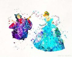 Cinderella and Fairy Godmother, Cinderella Disney Watercolor Print. Prices from $9.95. Available at InkistPrints.com - #disney #watercolor #christmasgifts #disneyart #walldecor #Cinderella