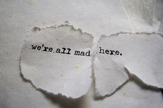 But in the end, in Wonderland, we both went mad.