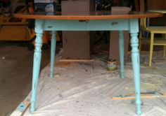 Chalk painted kitchen table as school table