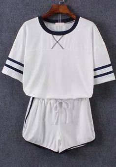 Short Sleeve Striped Top With Drawstring White Shorts -SheIn(Sheinside)