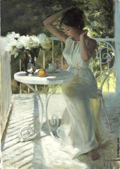 WHITE PEONIES, oil on canvas painting. Painter Vladimir VOLEGOV