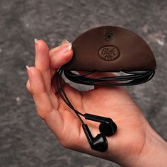 Холдер, чехол для наушников кожаный кофе (ручная работа), фото 1