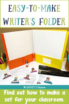 Find out how you can keep your writers organized with these easy-to-make folders.  All you need is two pocket folders and a long-arm stapler.  The four pockets are great for holding all the papers student writers need as they work through the writing process;  prewriting, drafting, revising/editing, and publishing.  Your students will be so organized they'll be able to complete their writing projects on time!