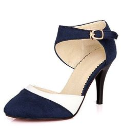 Maybest Womens Color Blocked Shallow Mouth Stilleto Thin High Heel Pointed Closed Toe Court Shoes Pumps Wedding Party Blue 9 B M US *** Click image for more details.-It is an affiliate link to Amazon.