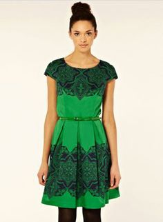 Green Day Dress - Bqueen Retro Floral Swing Dress