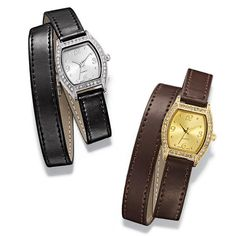 Classic ladies watch with a rhinestone accented barrel shaped face and a double wrap faux leather band. In your choice of silver-black strap or gold-brown strap. Regularly $29.99, buy Avon Jewelry online at http://eseagren.avonrepresentative.com
