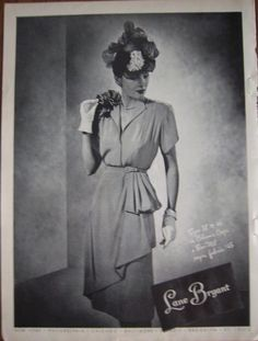 da2f872071 1946 Vintage Lane Bryant Women s Dress and Hat Fashion Ad
