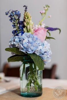 Mason Jar Centerpieces, Pink & Blue Wedding http://significanteventsoftexas.com/