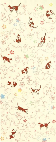 Cherry blossoms and Cats Japanese Art, Hand Towels, Fabric Patterns, Pattern Design, Swatch, Cotton Fabric, Concept, Texture, Illustration