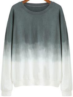 Colour-block Ombre Round Neck Loose Sweatshirt