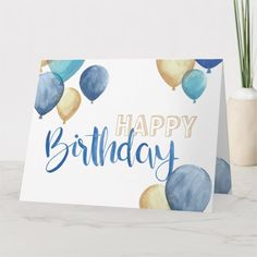 Shop Beautiful watercolor Happy Birthday design Card created by Cup_of_Art. Happy Birthday Cards Handmade, Creative Birthday Cards, Beautiful Birthday Cards, Homemade Birthday Cards, Birthday Cards For Friends, Bday Cards, Birthday Wishes, Happy Birthday Greeting Cards, Drawn Birthday Cards