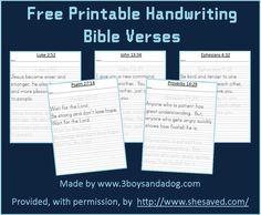FREE Printable Bible Verses & handwriting practice for kids