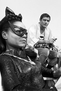 Eartha Kitt and Adam West on the set of The BatmanTV show, 1967