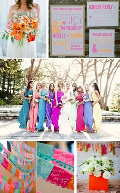 Bold summer wedding color inspiration. Color scheme of the dresses (just the colors, I know you don't like different colored dresses)