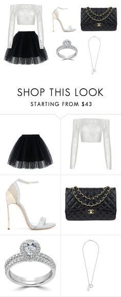 """Para sair e arrasar."" by manoeladeaguiar-farias ❤ liked on Polyvore featuring Chicwish, Casadei, Chanel, Bliss Diamond and Vitaly"