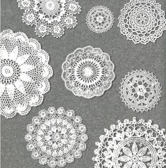 Doily Clip Art Set - 16 Beautiful Vintage Lace Doilies for Scrapbooking, Websites, Logos, Banners & More. $4.99, via Etsy.
