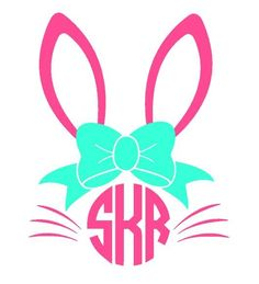 Bunny monogram shirt design perfect for Easter for your little only at Tiny Anch. Vinyl Monogram, Monogram Shirts, Vinyl Shirts, Monogram Fonts, Vinyl Crafts, Vinyl Projects, Shilouette Cameo, Silhouette Cameo Projects, Cricut Creations