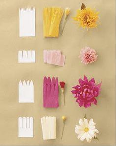 bloemen van crepepapier