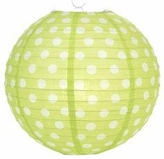 Light Lime Polka Dot Paper Lantern