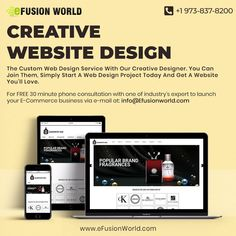 The Creative Website Design Service With Our Creative Designer. You Can Join Them, Simply Start A Web Design Project Today And Get A Website You'll Love. For FREE 30 minute phone consultation with one of industry's expert to launch your website via e-mail at info@efusionworld.com. Call : +1 973-837-8200 Website Design Services, Website Designs, Custom Web Design, Web Design Projects, Responsive Web Design, Creative Design, Product Launch, Graphic Design, Join