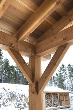 Details of the timber framed patio roof, also notice the wood shed across the way. By TFBC member Sweet Timber Frames. Backyard Pavilion, Outdoor Pavilion, Backyard Sheds, Backyard Patio Designs, Porch Timber, Timber Garage, Timber Frame Homes, Timber Frames, Outdoor Kitchen Patio