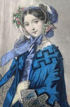 Moniteur DE LA Mode 1857 Gravure Litho Ancienne Robe Bleue ET Bleu Clair