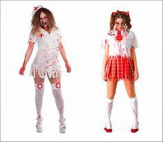 Disfraz enfermera zombie barato o disfraz colegiala zombie barato